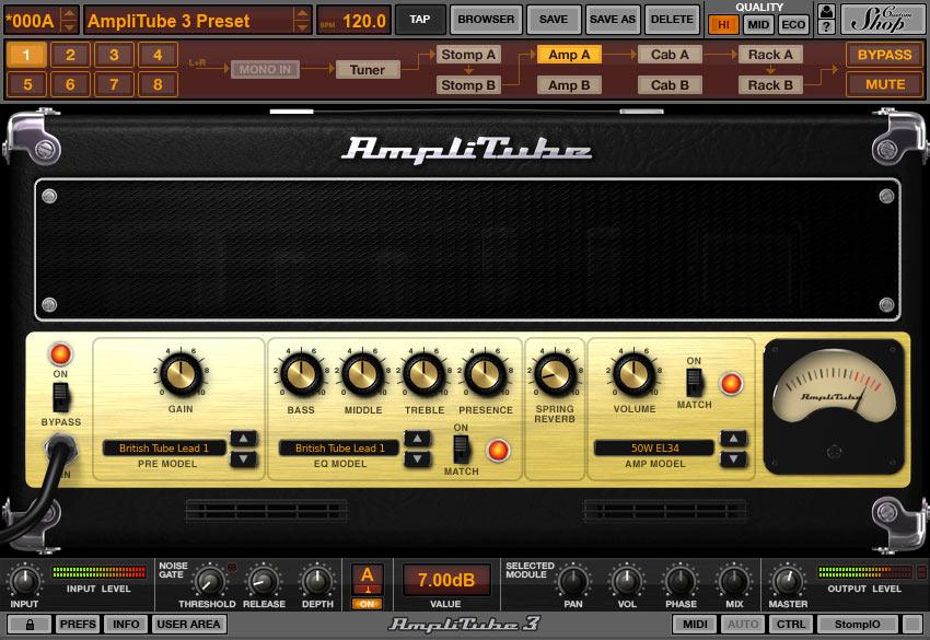 Uma das telas mostrando o simulador de amplificadores Amplitube